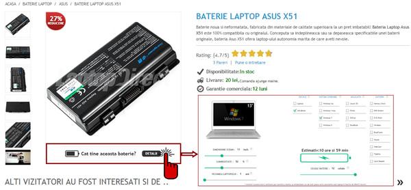 Cat tine bateria laptop Asus