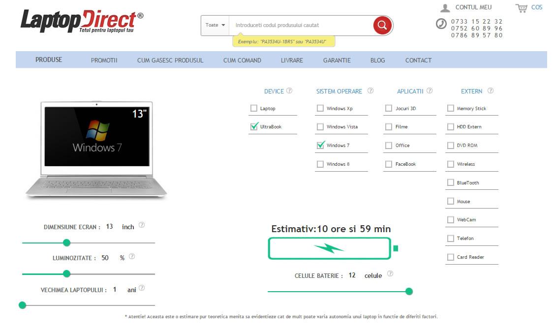 Pagina calculator autonomie baterii laptop